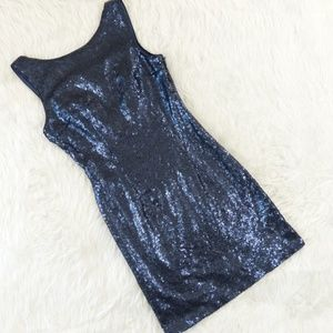 LuLu's Navy Blue Shine Time Backless Sequin Dress